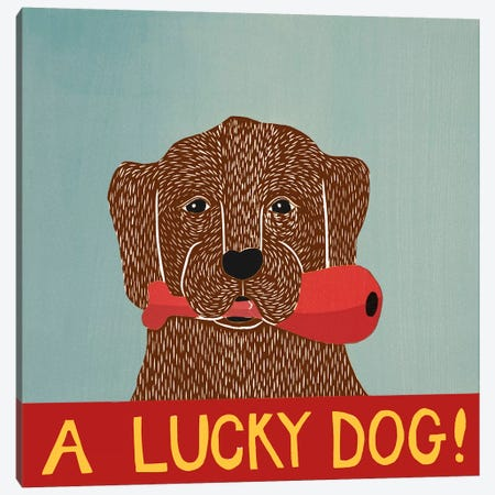 A Lucky Dog (Chocolate Lab Puppy) Canvas Print #STH73} by Stephen Huneck Canvas Artwork