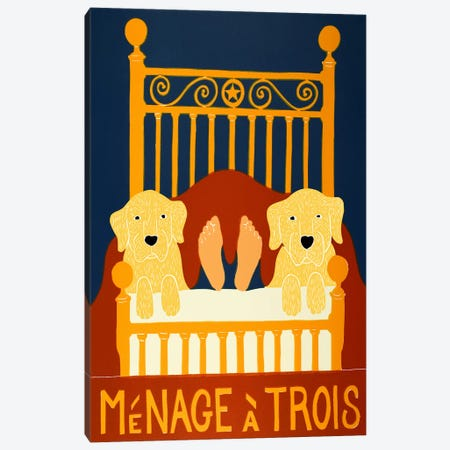 Menage II Yellow Yellow Canvas Print #STH81} by Stephen Huneck Art Print