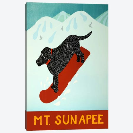 Mt. Sunapee Snowboard Black Canvas Print #STH84} by Stephen Huneck Canvas Art