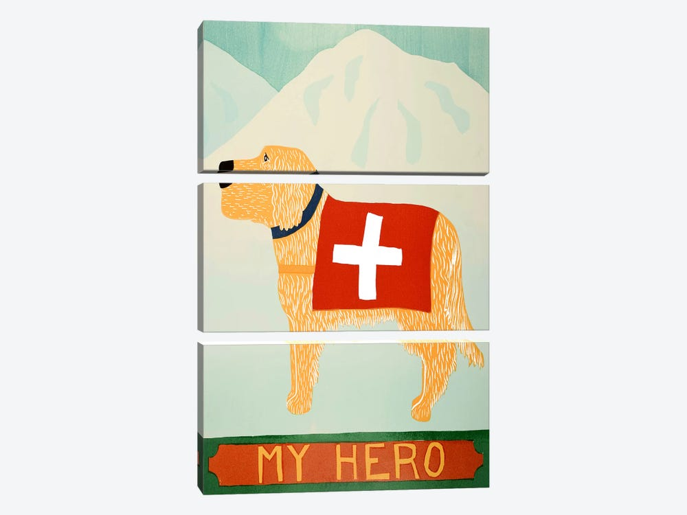 My Hero Golden by Stephen Huneck 3-piece Canvas Print