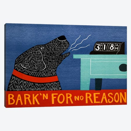 Barkin for no reason black Canvas Print #STH9} by Stephen Huneck Canvas Wall Art
