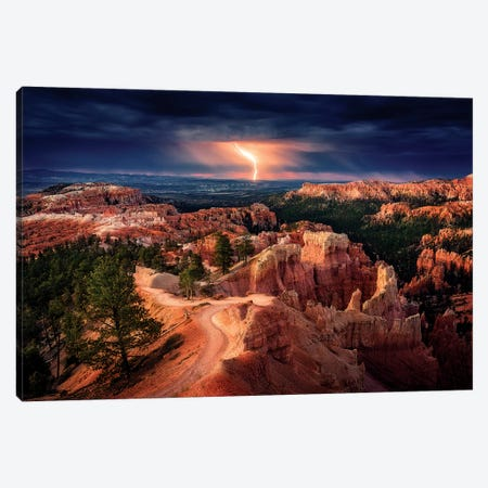 Lightning over Bryce Canyon Canvas Print #STM1} by Stefan Mitterwallner Canvas Print