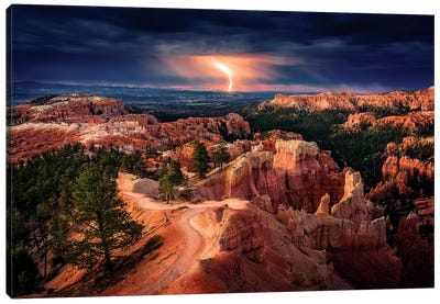 Lightning over Bryce Canyon Canvas Art Print