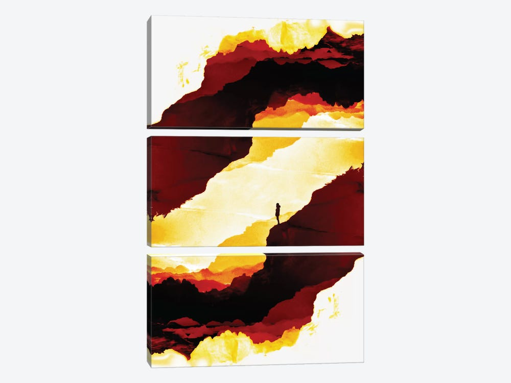 Red Isolation by Stoian Hitrov 3-piece Canvas Wall Art
