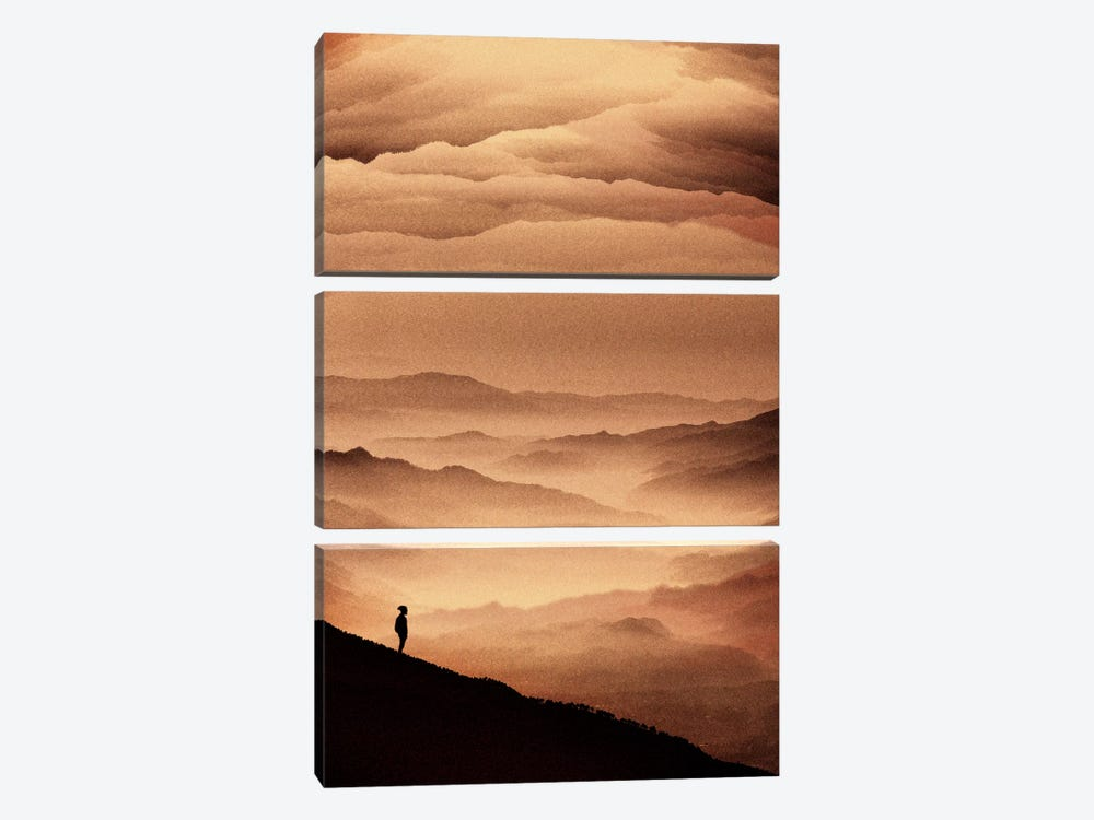 Red Noise by Stoian Hitrov 3-piece Art Print