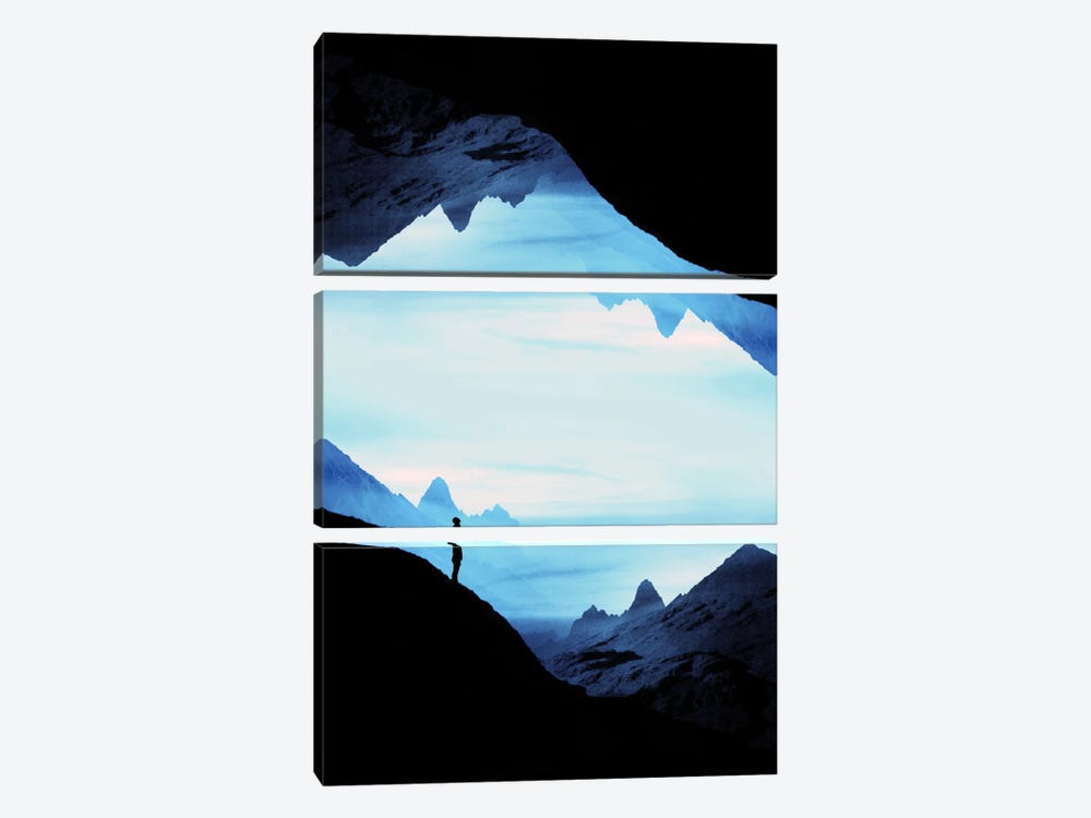 Blue Wasteland Isolation by Stoian Hitrov 3-piece Canvas Print