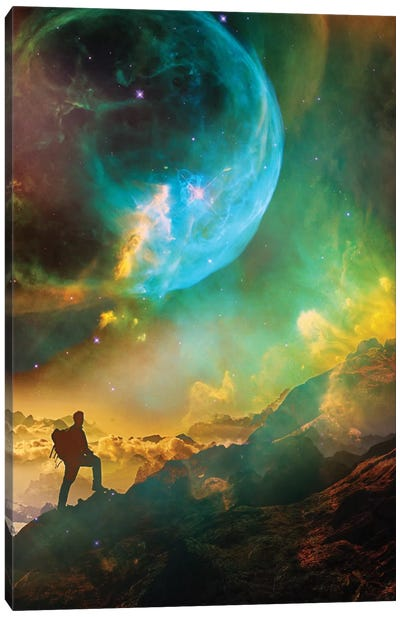 Vibrant Space Hiker Canvas Art Print