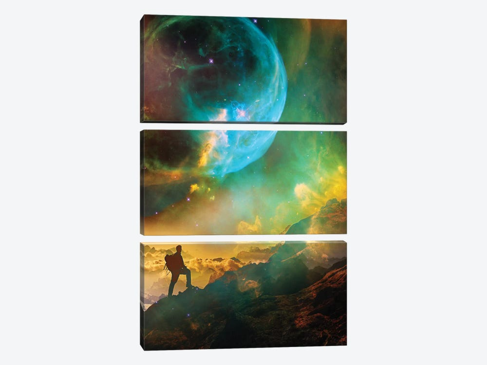 Vibrant Space Hiker by Stoian Hitrov 3-piece Canvas Print