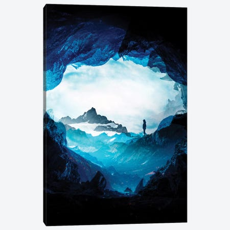 Blue Misty Mountains 3-Piece Canvas #STO73} by Stoian Hitrov Art Print