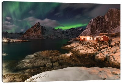 Lofoten Norther Lights Canvas Art Print