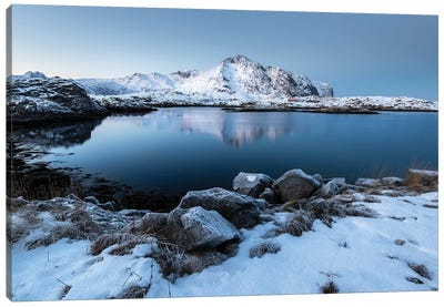 Lofoten Snow Lake Canvas Art Print