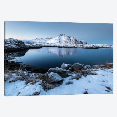 Lofoten Snow Lake Canvas Print #STR141} by Andreas Stridsberg Canvas Art Print