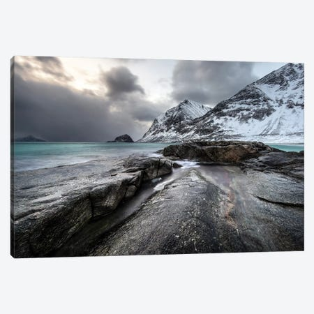 Lofoten Snow Peaks Canvas Print #STR142} by Andreas Stridsberg Art Print