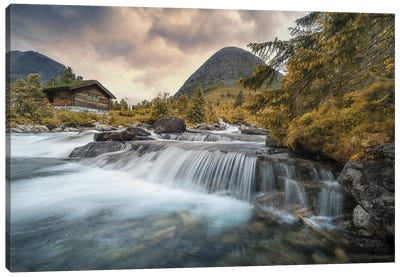 Norway Waterfall Canvas Art Print