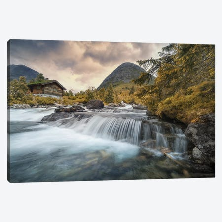 Norway Waterfall Canvas Print #STR150} by Andreas Stridsberg Canvas Wall Art