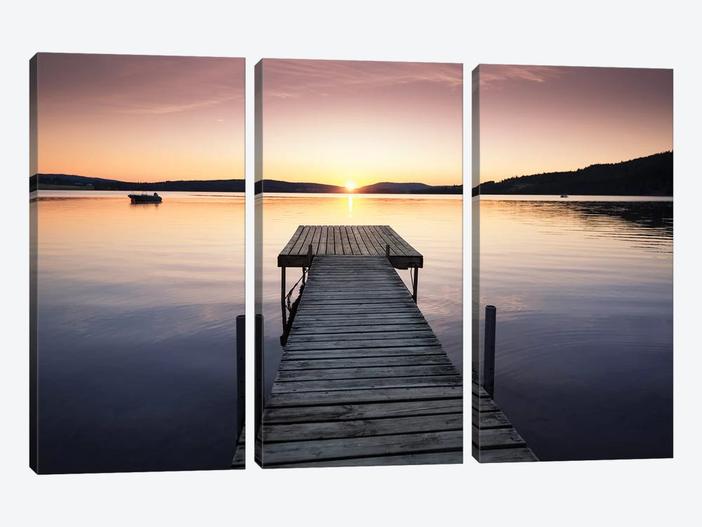 Sunset Pier II by Andreas Stridsberg 3-piece Canvas Art Print