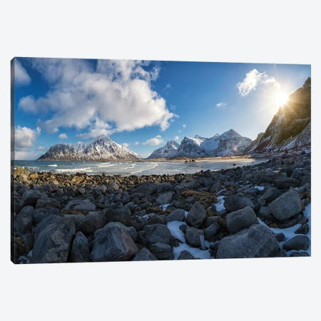 Flakstad Beach Canvas Print #STR177} by Andreas Stridsberg Canvas Art Print