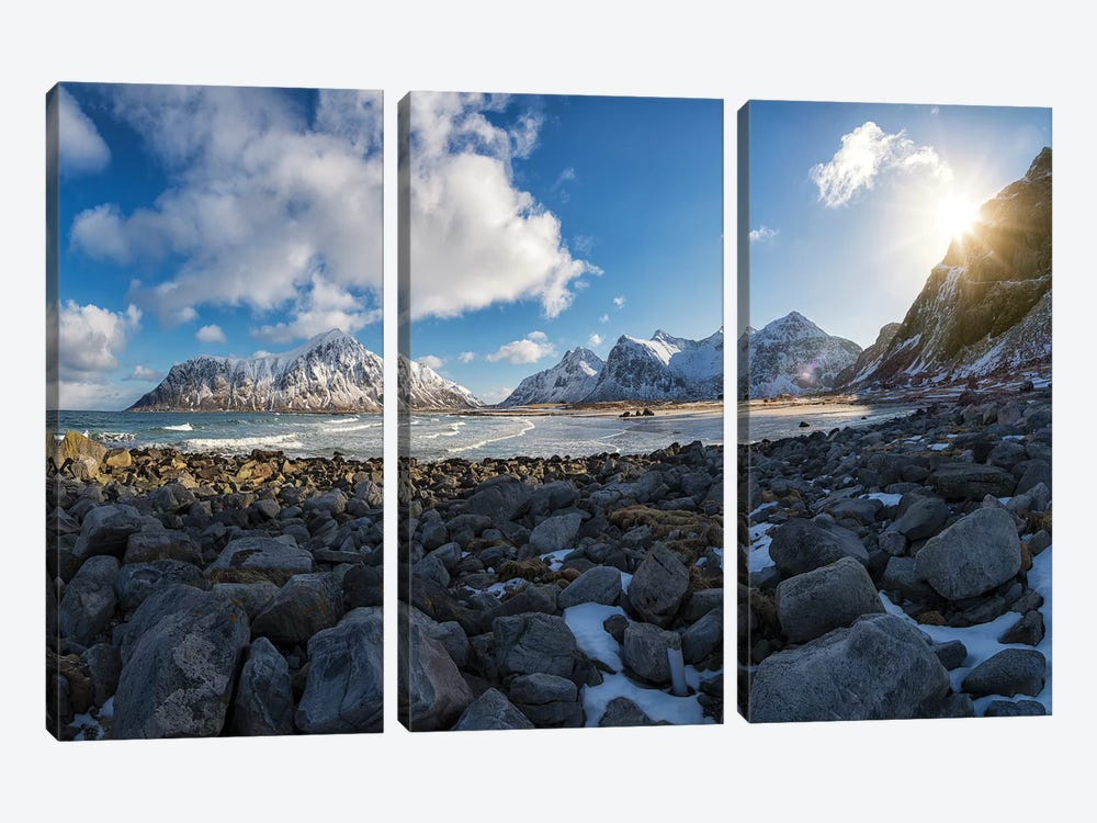 Flakstad Beach by Andreas Stridsberg 3-piece Canvas Artwork