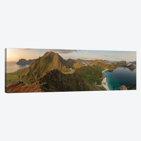 Haukland Panorama Canvas Print #STR208} by Andreas Stridsberg Canvas Wall Art