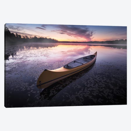 Midnight Canoe Canvas Print #STR234} by Andreas Stridsberg Canvas Artwork