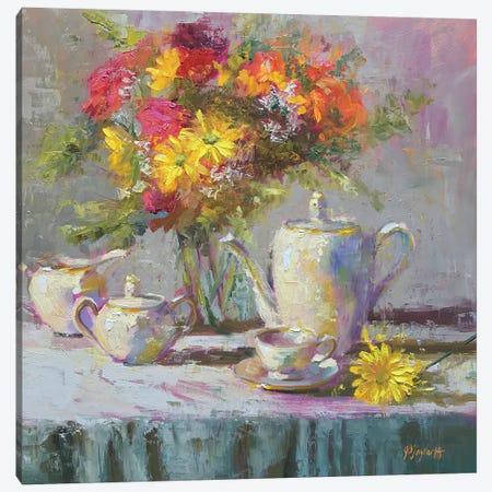 Birthday Flowers And Tea Canvas Print #STT11} by Jennifer Stottle Taylor Canvas Wall Art