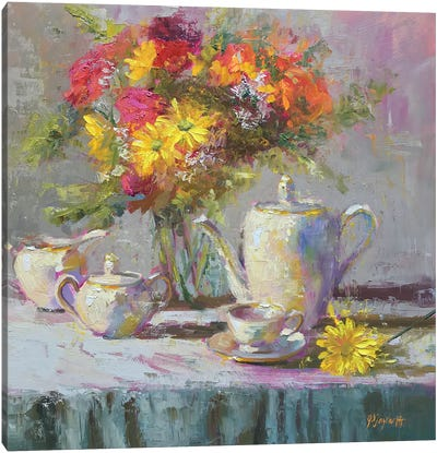 Birthday Flowers And Tea Canvas Art Print