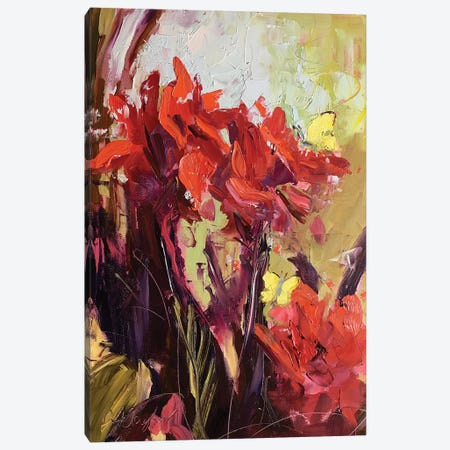 The Cana Lily and Butterfly Canvas Print #STT76} by Jennifer Stottle Taylor Canvas Art Print