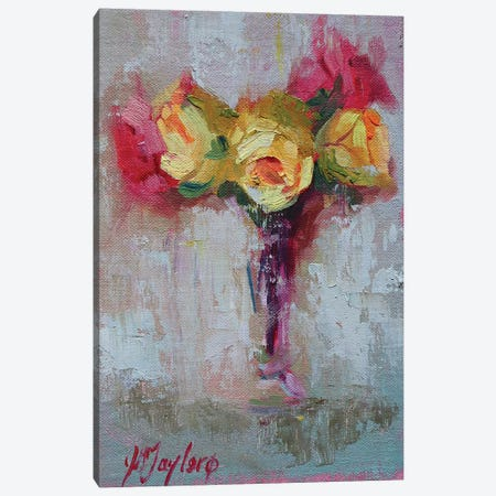 Yellow and Pink Roses Canvas Print #STT96} by Jennifer Stottle Taylor Art Print