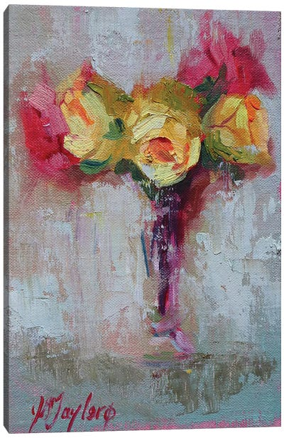 Yellow and Pink Roses Canvas Art Print
