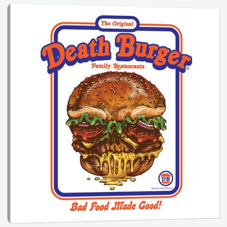 Death Burger Canvas Print #STV12} by Steven Rhodes Canvas Art
