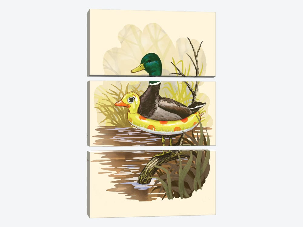 Duck In Training 3-piece Canvas Wall Art