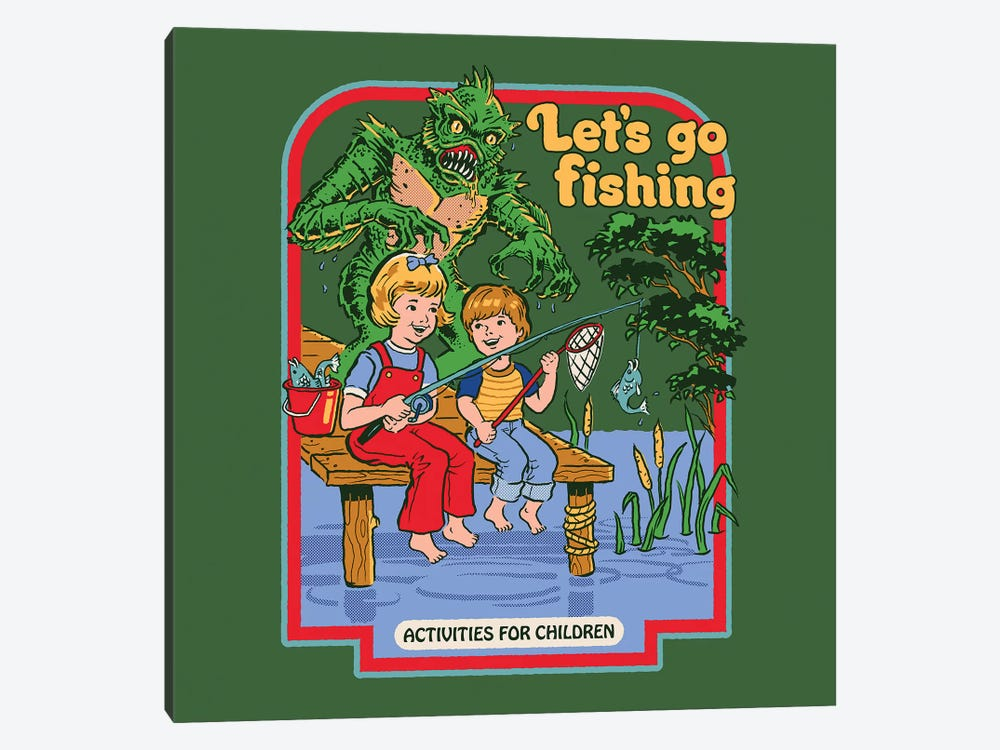Let's Go Fishing by Steven Rhodes 1-piece Canvas Art