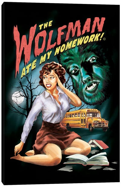 The Wolfman Ate My Homework Canvas Art Print