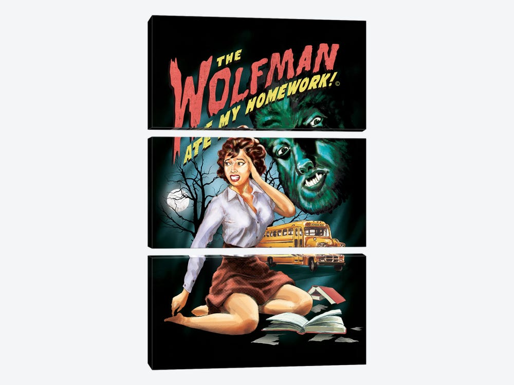 The Wolfman Ate My Homework by Steven Rhodes 3-piece Canvas Art