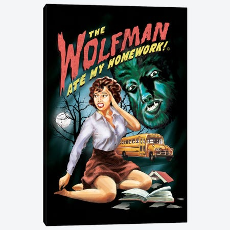 The Wolfman Ate My Homework Canvas Print #STV38} by Steven Rhodes Canvas Art