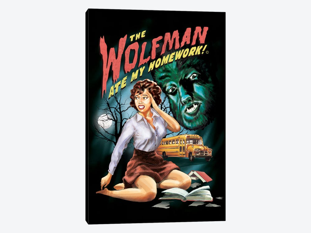 The Wolfman Ate My Homework by Steven Rhodes 1-piece Canvas Artwork