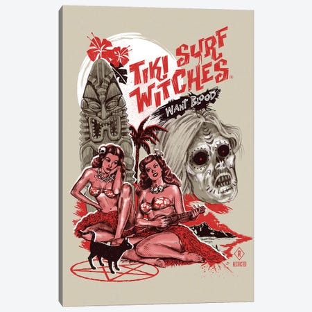 Tiki Surf Witches Want Blood Canvas Print #STV39} by Steven Rhodes Canvas Wall Art