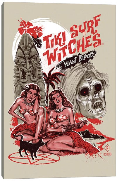 Tiki Surf Witches Want Blood Canvas Art Print