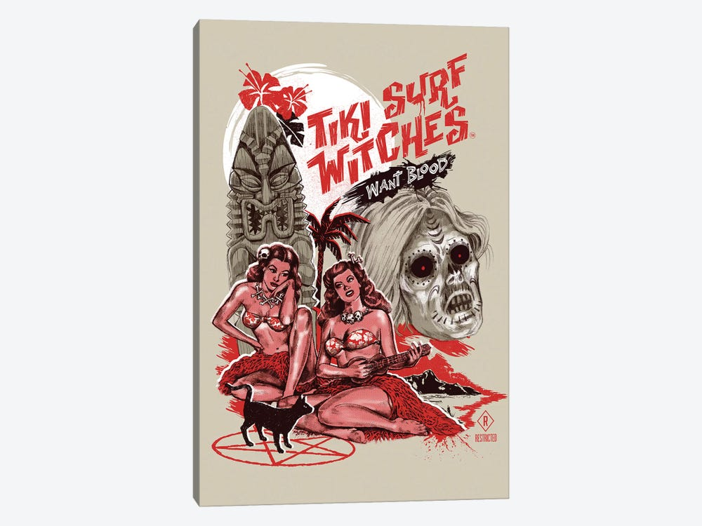 Tiki Surf Witches Want Blood by Steven Rhodes 1-piece Canvas Art Print