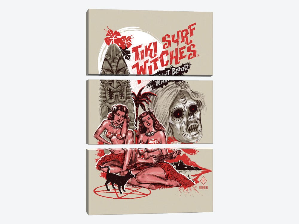 Tiki Surf Witches Want Blood by Steven Rhodes 3-piece Canvas Print