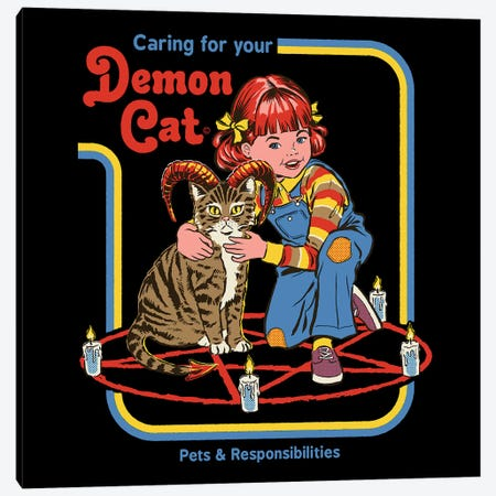 Caring For Your Demon Cat Canvas Print #STV44} by Steven Rhodes Canvas Artwork