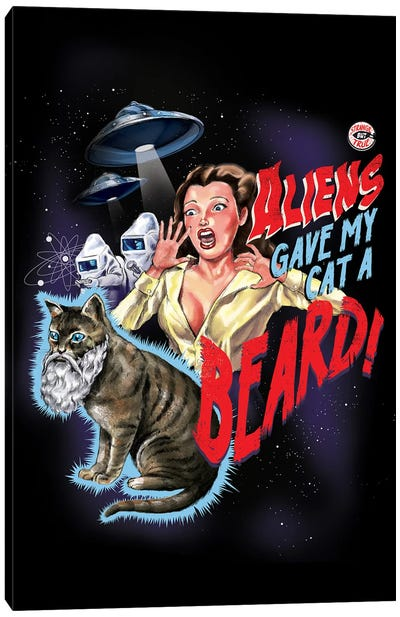 Aliens Gave My Cat A Beard Canvas Art Print