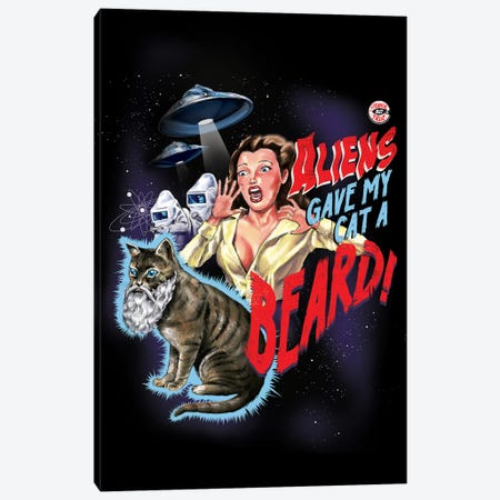 Aliens Gave My Cat A Beard Canvas Print #STV5} by Steven Rhodes Canvas Artwork