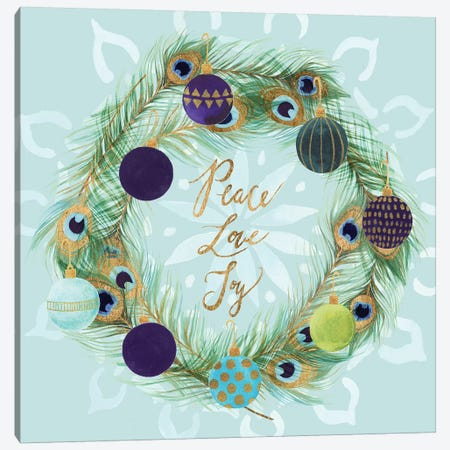 Peacock Christmas Collection A Canvas Print #STW117} by Studio W Canvas Art Print