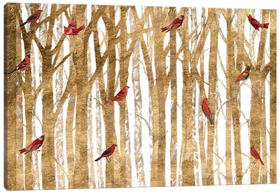 Red Bird Christmas Collection A Canvas Art Print