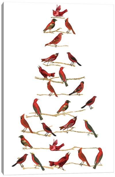Red Bird Christmas Collection B Canvas Art Print