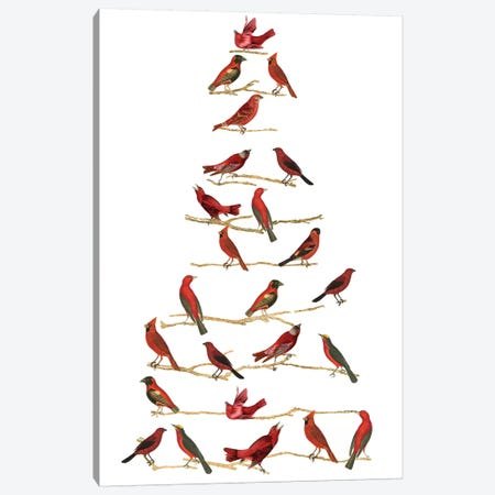 Red Bird Christmas Collection B Canvas Print #STW119} by Studio W Canvas Wall Art