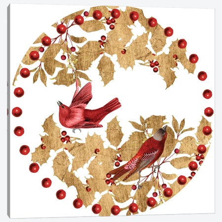 Red Bird Christmas Collection C Canvas Print #STW120} by Studio W Canvas Print