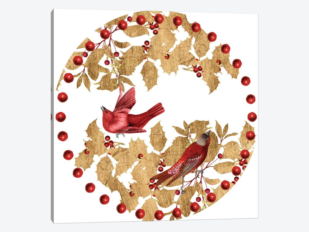 Red Bird Christmas Collection C by Studio W 1-piece Canvas Wall Art