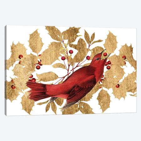 Red Bird Christmas Collection D Canvas Print #STW121} by Studio W Art Print